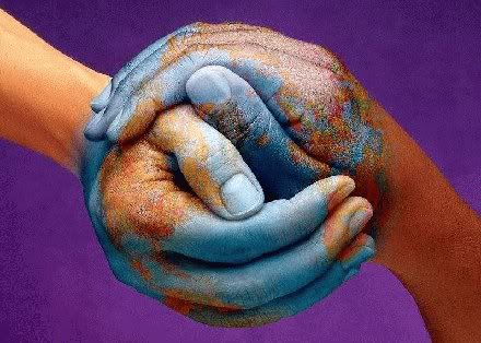 two hands cupped together painted to be the globe